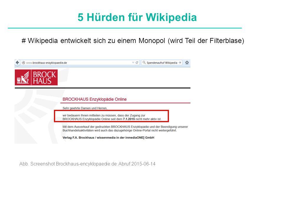 Definitionen # Wikipedia entwickelt sich zu einem Monopol (wird Teil der Filterblase) 5 Hürden für Wikipedia Abb.