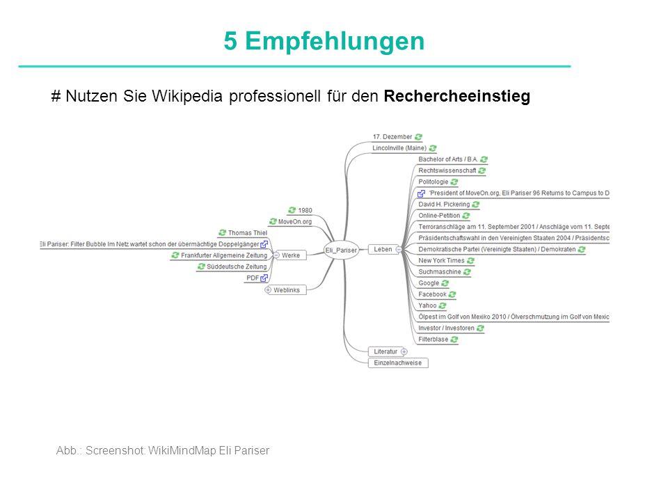 Definitionen # Nutzen Sie Wikipedia professionell für den Rechercheeinstieg 5 Empfehlungen Abb.: Screenshot: WikiMindMap Eli Pariser