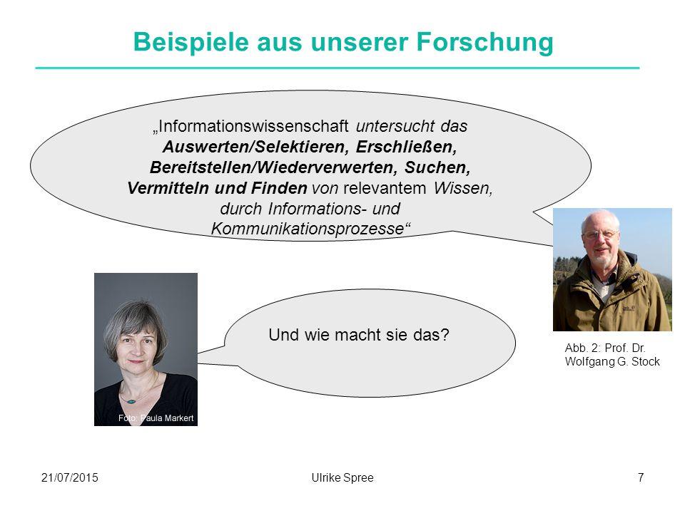 21/07/2015Ulrike Spree9 Beispiele aus unserer Forschung Was?Warum.