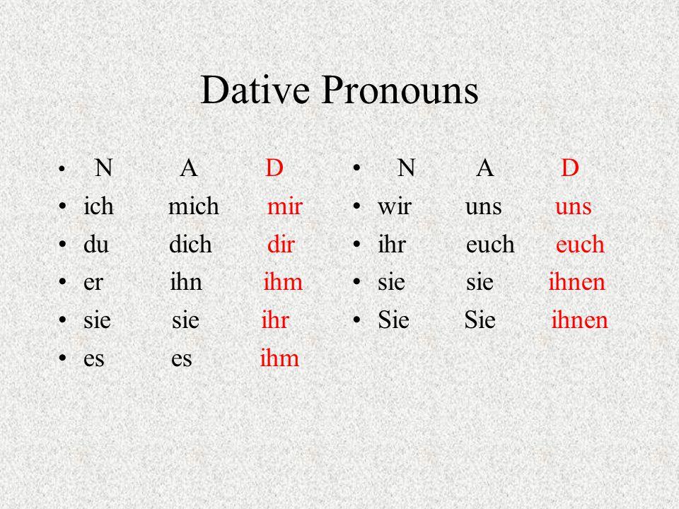 Dative Pronouns N A D ich mich mir du dich dir er ihn ihm sie sie ihr es es ihm N A D wir uns uns ihr euch euch sie sie ihnen Sie Sie ihnen