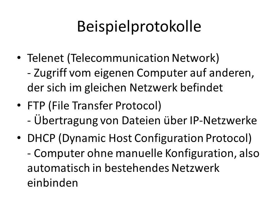 Beispielprotokolle Telenet (Telecommunication Network) - Zugriff vom eigenen Computer auf anderen, der sich im gleichen Netzwerk befindet FTP (File Tr