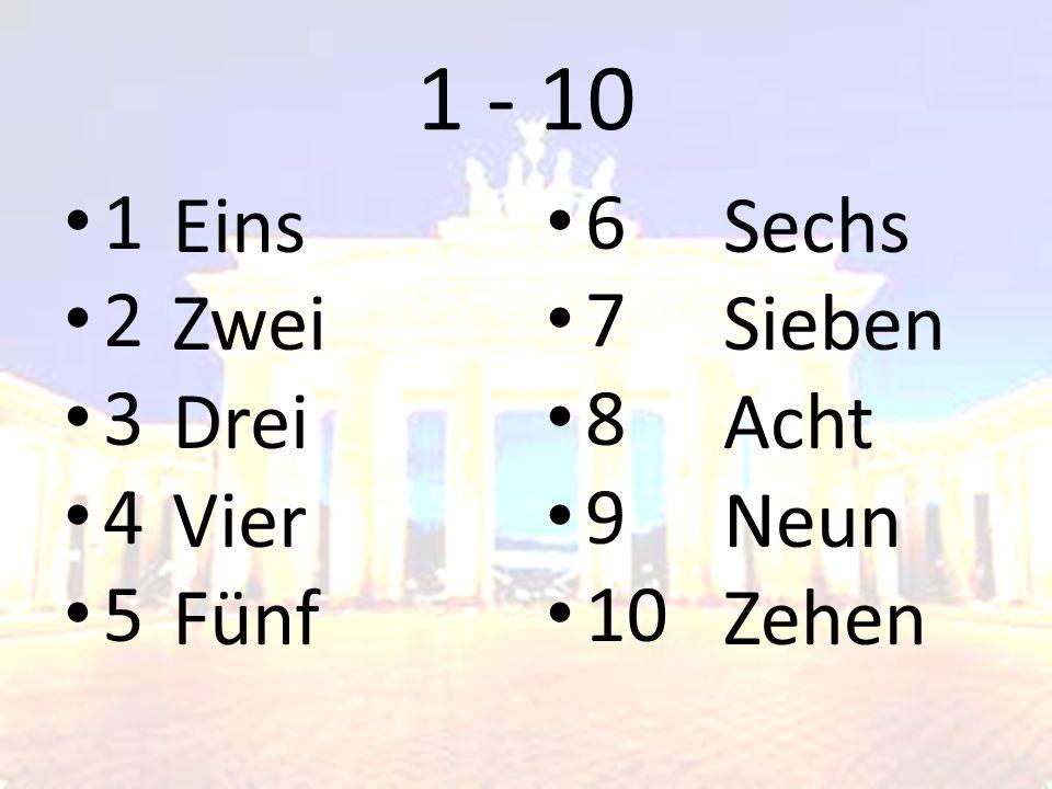1 - 10 1 2 3 4 5 6 7 8 9 10 Eins Zwei Drei Vier Fünf Sechs Sieben Acht Neun Zehen