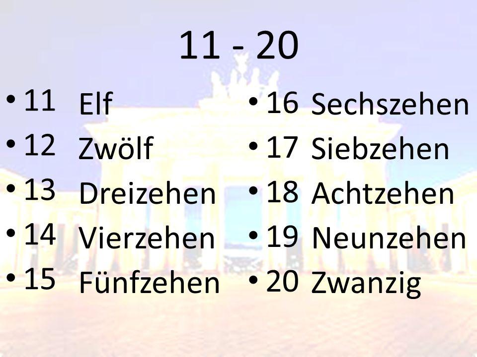 11 - 20 11 12 13 14 15 16 17 18 19 20 Elf Zwölf Dreizehen Vierzehen Fünfzehen Sechszehen Siebzehen Achtzehen Neunzehen Zwanzig