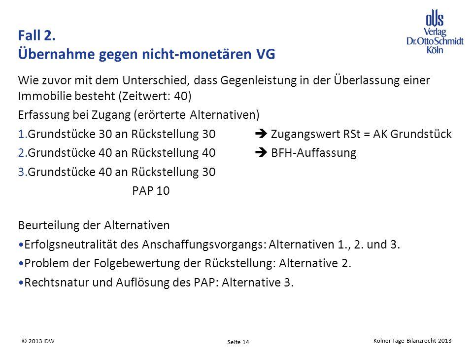 Kölner Tage Bilanzrecht 2013 Seite 14 © 2013 IDW Kölner Tage Bilanzrecht 2013 Seite 14 © 2013 Fall 2.
