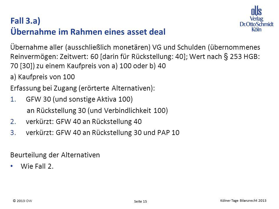 Kölner Tage Bilanzrecht 2013 Seite 15 © 2013 IDW Kölner Tage Bilanzrecht 2013 Seite 15 © 2013 Übernahme aller (ausschließlich monetären) VG und Schulden (übernommenes Reinvermögen: Zeitwert: 60 [darin für Rückstellung: 40]; Wert nach § 253 HGB: 70 [30]) zu einem Kaufpreis von a) 100 oder b) 40 a) Kaufpreis von 100 Erfassung bei Zugang (erörterte Alternativen): 1.GFW 30 (und sonstige Aktiva 100) an Rückstellung 30 (und Verbindlichkeit 100) 2.verkürzt: GFW 40 an Rückstellung 40 3.verkürzt: GFW 40 an Rückstellung 30 und PAP 10 Beurteilung der Alternativen Wie Fall 2.
