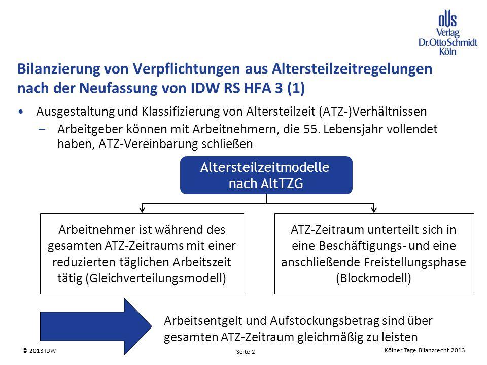 Kölner Tage Bilanzrecht 2013 Seite 2 © 2013 IDW© 2013 Seite 2 Kölner Tage Bilanzrecht 2013 Ausgestaltung und Klassifizierung von Altersteilzeit (ATZ-)Verhältnissen –Arbeitgeber können mit Arbeitnehmern, die 55.