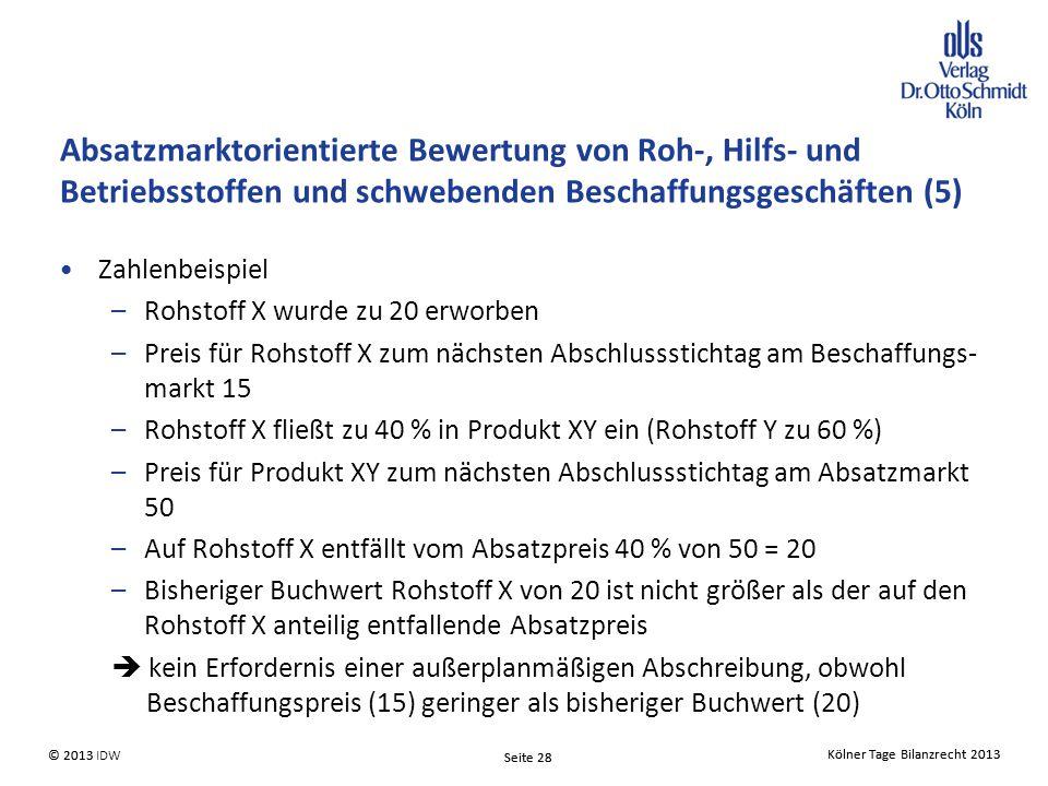 Kölner Tage Bilanzrecht 2013 Seite 28 © 2013 IDW© 2013 Seite 28 Kölner Tage Bilanzrecht 2013 Absatzmarktorientierte Bewertung von Roh-, Hilfs- und Betriebsstoffen und schwebenden Beschaffungsgeschäften (5) Zahlenbeispiel –Rohstoff X wurde zu 20 erworben –Preis für Rohstoff X zum nächsten Abschlussstichtag am Beschaffungs- markt 15 –Rohstoff X fließt zu 40 % in Produkt XY ein (Rohstoff Y zu 60 %) –Preis für Produkt XY zum nächsten Abschlussstichtag am Absatzmarkt 50 –Auf Rohstoff X entfällt vom Absatzpreis 40 % von 50 = 20 –Bisheriger Buchwert Rohstoff X von 20 ist nicht größer als der auf den Rohstoff X anteilig entfallende Absatzpreis  kein Erfordernis einer außerplanmäßigen Abschreibung, obwohl Beschaffungspreis (15) geringer als bisheriger Buchwert (20)