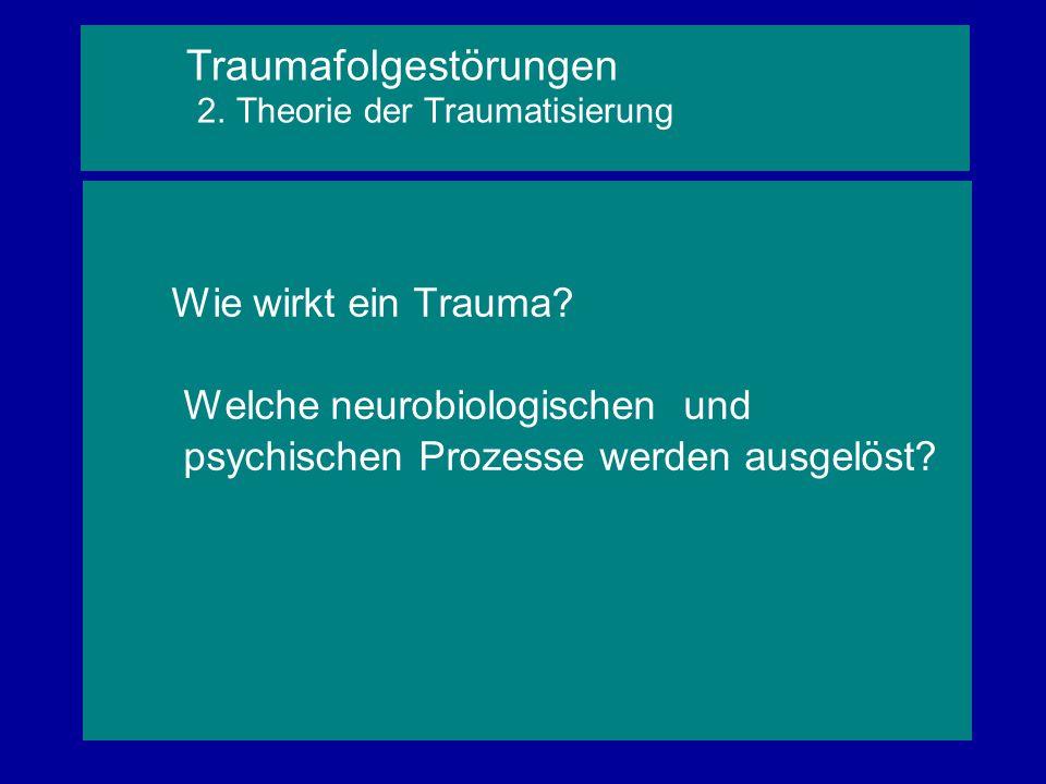 Wie wirkt ein Trauma? Welche neurobiologischen und psychischen Prozesse werden ausgelöst? Traumafolgestörungen 2. Theorie der Traumatisierung