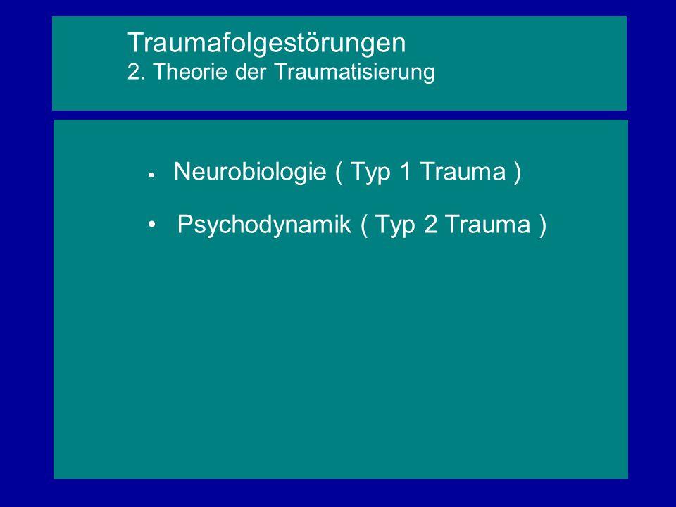 Neurobiologie ( Typ 1 Trauma ) Psychodynamik ( Typ 2 Trauma ) Traumafolgestörungen 2. Theorie der Traumatisierung