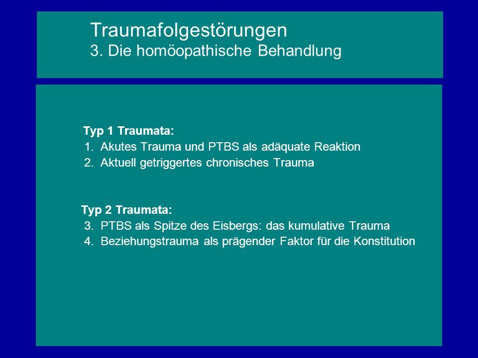 Typ 1 Traumata: 1. Akutes Trauma und PTBS als adäquate Reaktion 2. Aktuell getriggertes chronisches Trauma Typ 2 Traumata: 3. PTBS als Spitze des Eisb