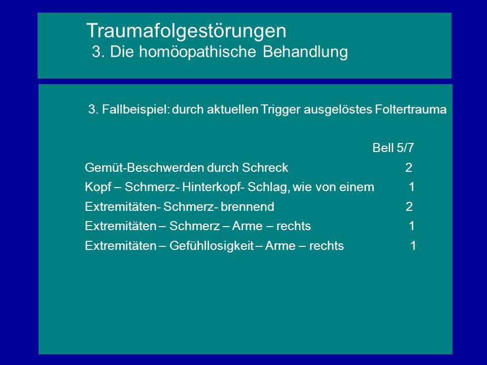 3. Fallbeispiel: durch aktuellen Trigger ausgelöstes Foltertrauma Bell 5/7 Gemüt-Beschwerden durch Schreck 2 Kopf – Schmerz- Hinterkopf- Schlag, wie v