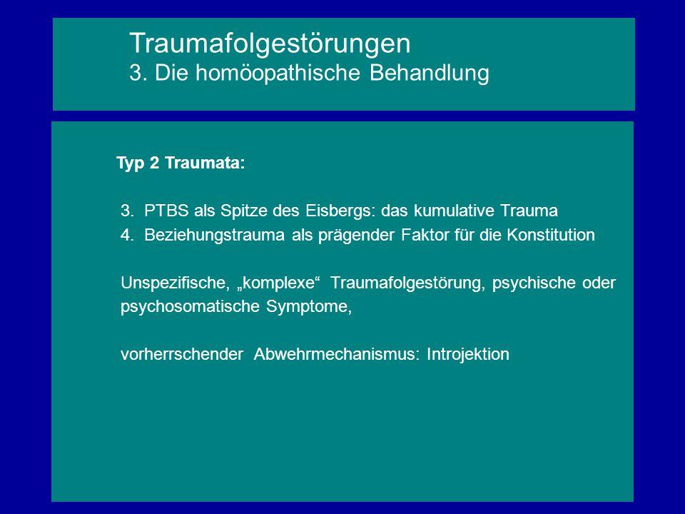 """Typ 2 Traumata: 3. PTBS als Spitze des Eisbergs: das kumulative Trauma 4. Beziehungstrauma als prägender Faktor für die Konstitution Unspezifische, """"k"""