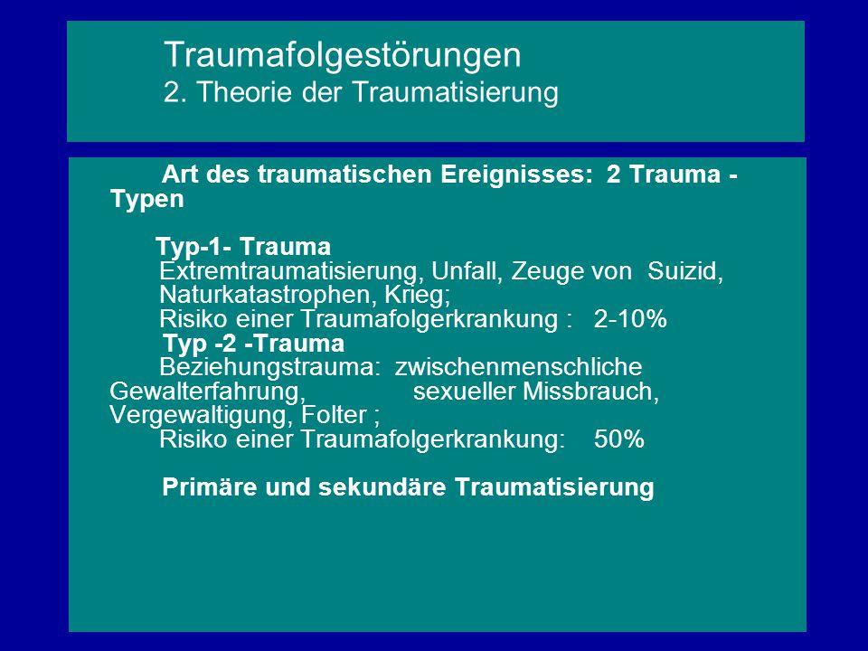 Art des traumatischen Ereignisses: 2 Trauma - Typen Typ-1- Trauma Extremtraumatisierung, Unfall, Zeuge von Suizid, Naturkatastrophen, Krieg; Risiko ei