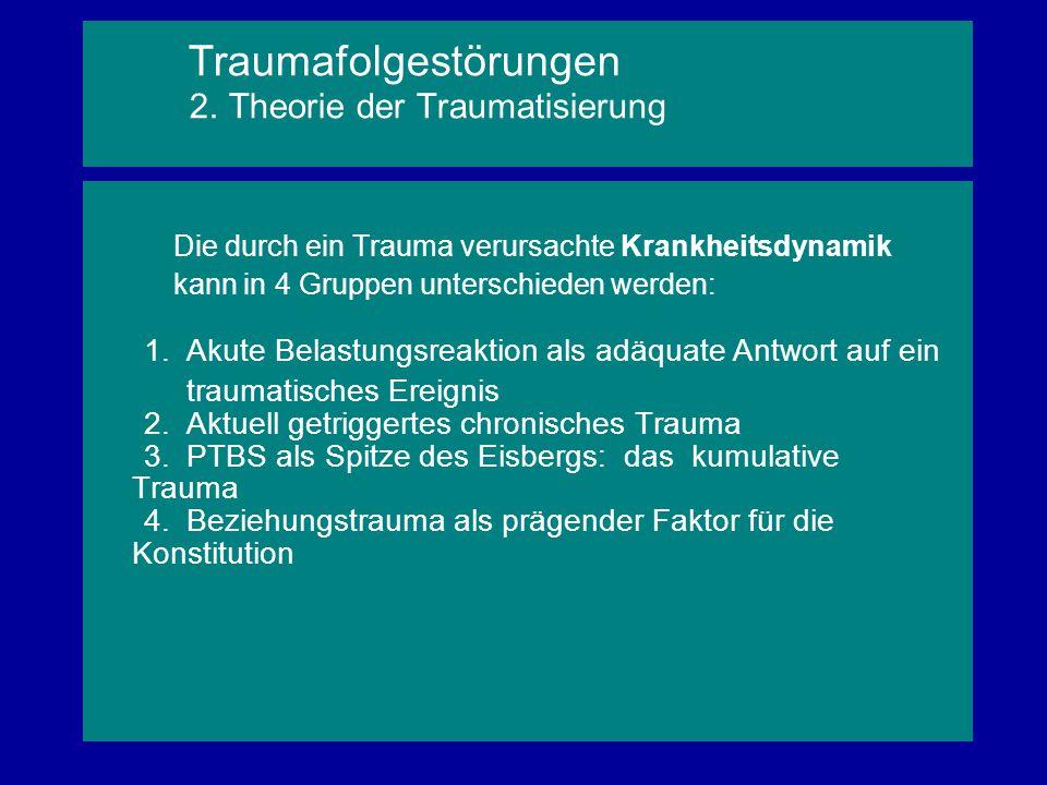 Die durch ein Trauma verursachte Krankheitsdynamik kann in 4 Gruppen unterschieden werden: 1. Akute Belastungsreaktion als adäquate Antwort auf ein tr