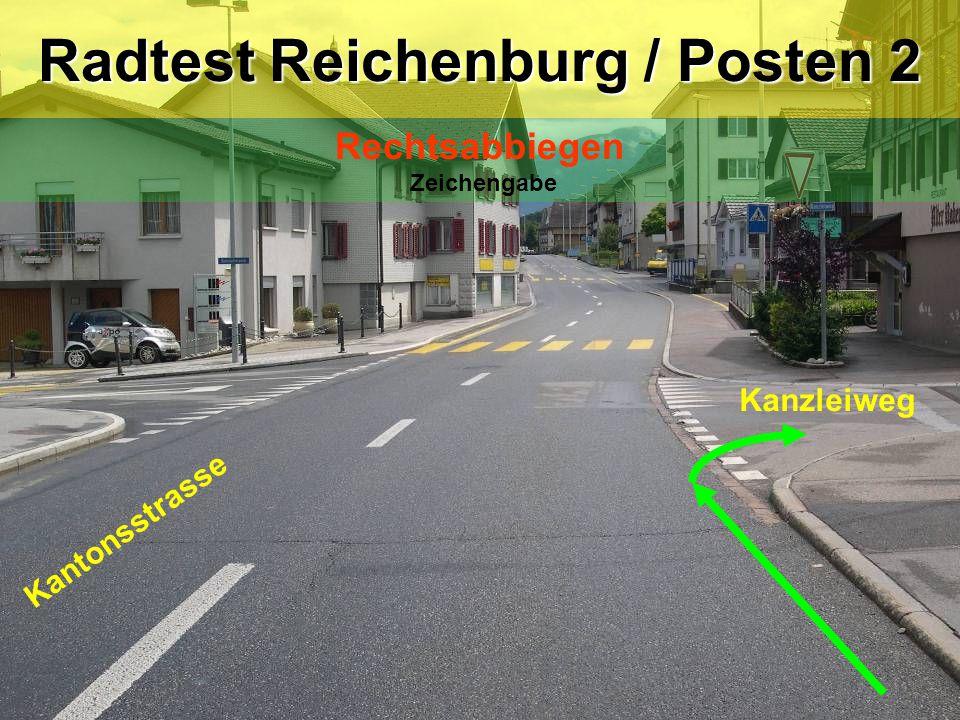 Kantonsstrasse Kanzleiweg Radtest Reichenburg / Posten 2 Rechtsabbiegen Zeichengabe