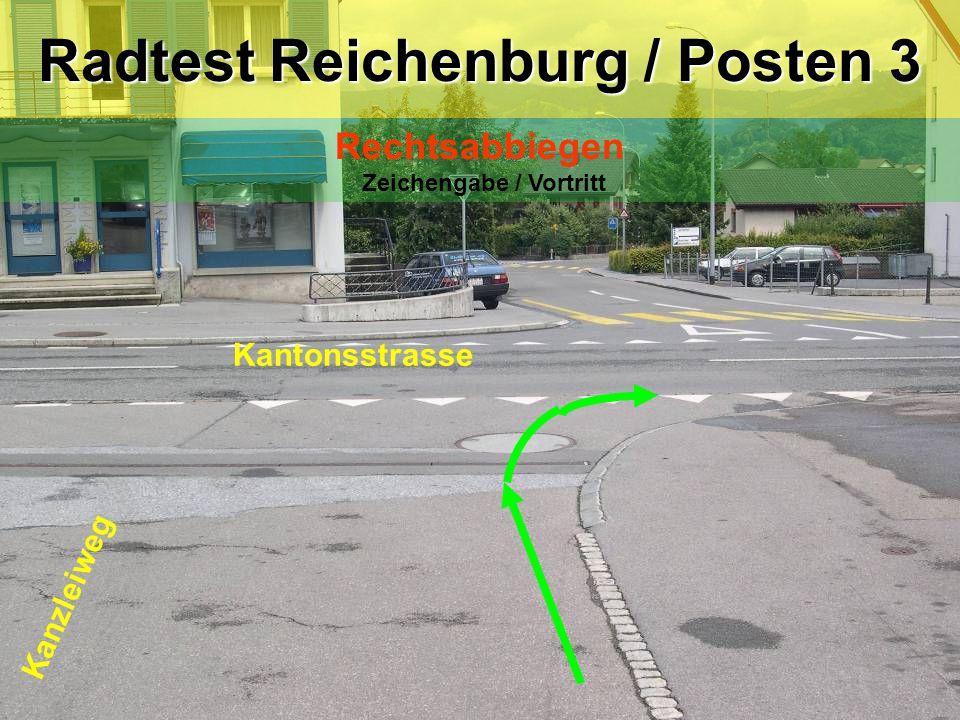 Kantonsstrasse Kanzleiweg Radtest Reichenburg / Posten 3 Rechtsabbiegen Zeichengabe / Vortritt