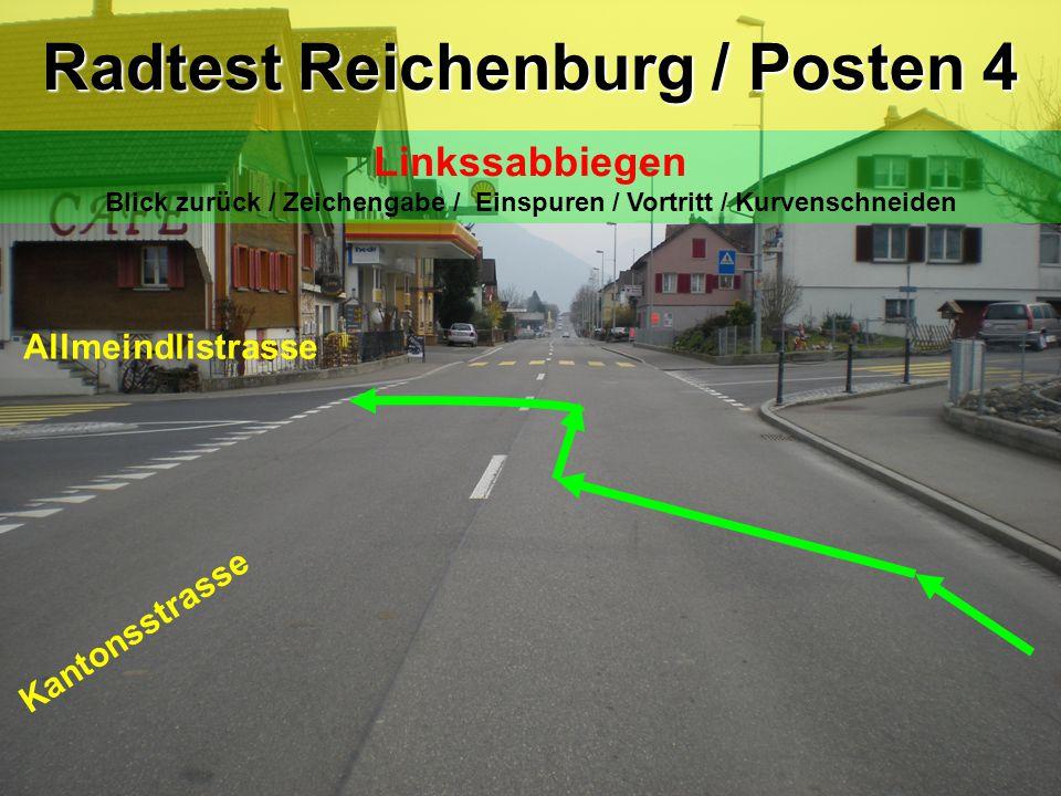 Kantonsstrasse Allmeindlistrasse Radtest Reichenburg / Posten 4 Linkssabbiegen Blick zurück / Zeichengabe / Einspuren / Vortritt / Kurvenschneiden