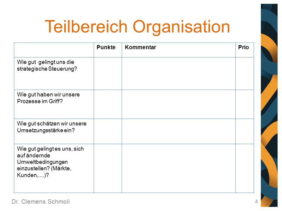 Teilbereich Organisation Dr. Clemens Schmoll 4 PunkteKommentarPrio Wie gut gelingt uns die strategische Steuerung? Wie gut haben wir unsere Prozesse i