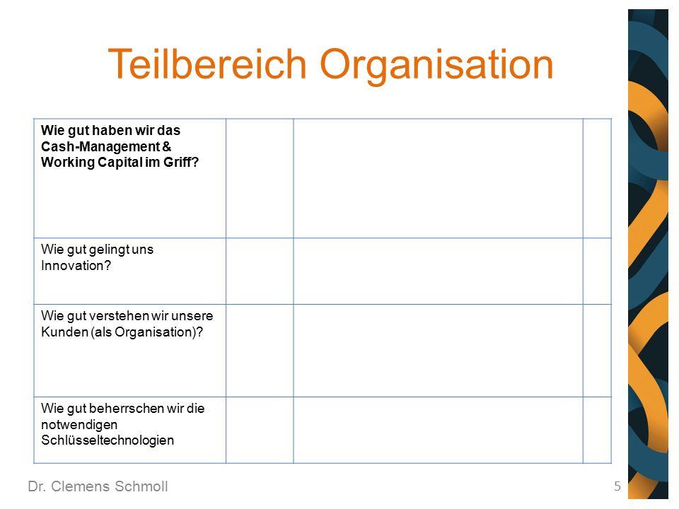 Teilbereich Organisation Dr. Clemens Schmoll 5 Wie gut haben wir das Cash-Management & Working Capital im Griff? Wie gut gelingt uns Innovation? Wie g