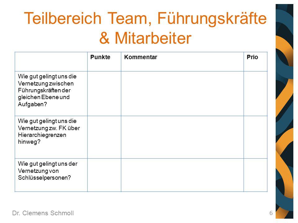 Teilbereich Team, Führungskräfte & Mitarbeiter Dr. Clemens Schmoll 6 PunkteKommentarPrio Wie gut gelingt uns die Vernetzung zwischen Führungskräften d