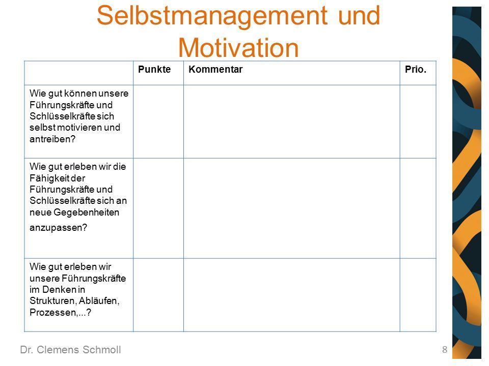Selbstmanagement und Motivation Dr. Clemens Schmoll 8 PunkteKommentarPrio. Wie gut können unsere Führungskräfte und Schlüsselkräfte sich selbst motivi