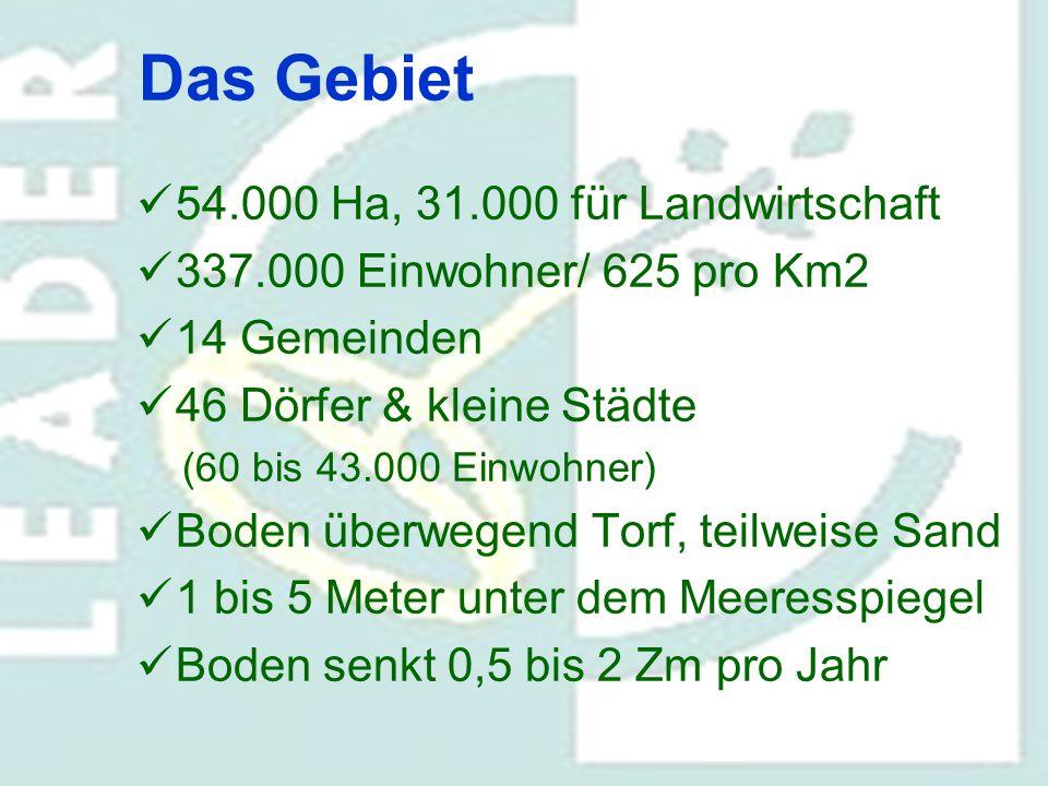 Das Gebiet 54.000 Ha, 31.000 für Landwirtschaft 337.000 Einwohner/ 625 pro Km2 14 Gemeinden 46 Dörfer & kleine Städte (60 bis 43.000 Einwohner) Boden