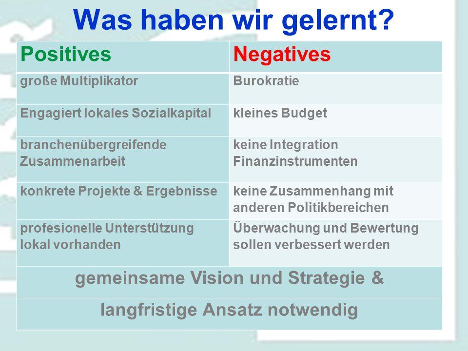 Was haben wir gelernt? PositivesNegatives große MultiplikatorBurokratie Engagiert lokales Sozialkapitalkleines Budget branchenübergreifende Zusammenar