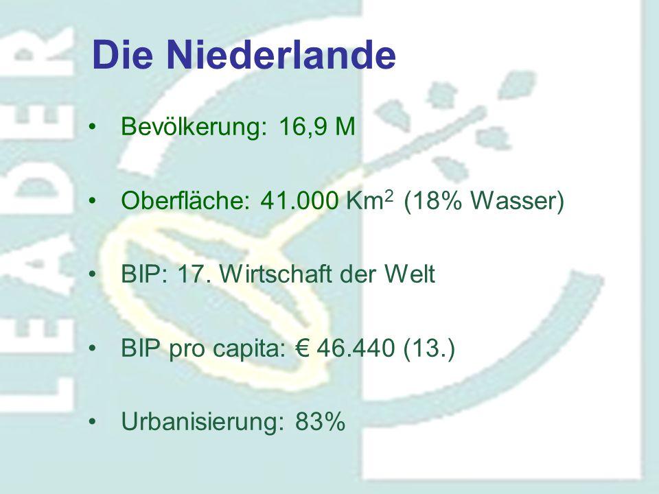 Bevölkerung: 16,9 M Oberfläche: 41.000 Km 2 (18% Wasser) BIP: 17. Wirtschaft der Welt BIP pro capita: € 46.440 (13.) Urbanisierung: 83% Die Niederland