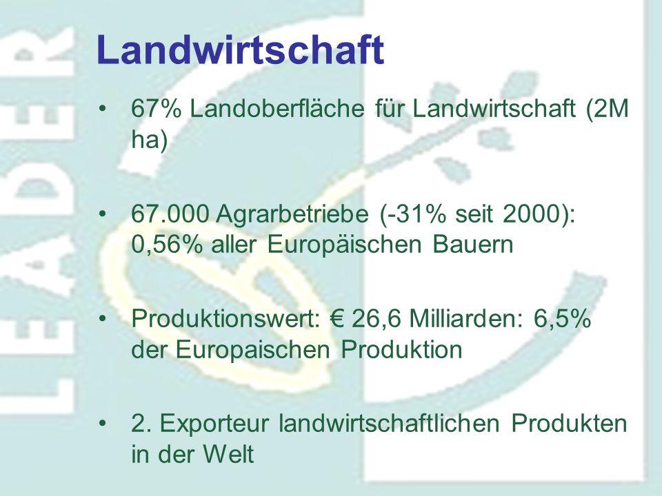 67% Landoberfläche für Landwirtschaft (2M ha) 67.000 Agrarbetriebe (-31% seit 2000): 0,56% aller Europäischen Bauern Produktionswert: € 26,6 Milliarde