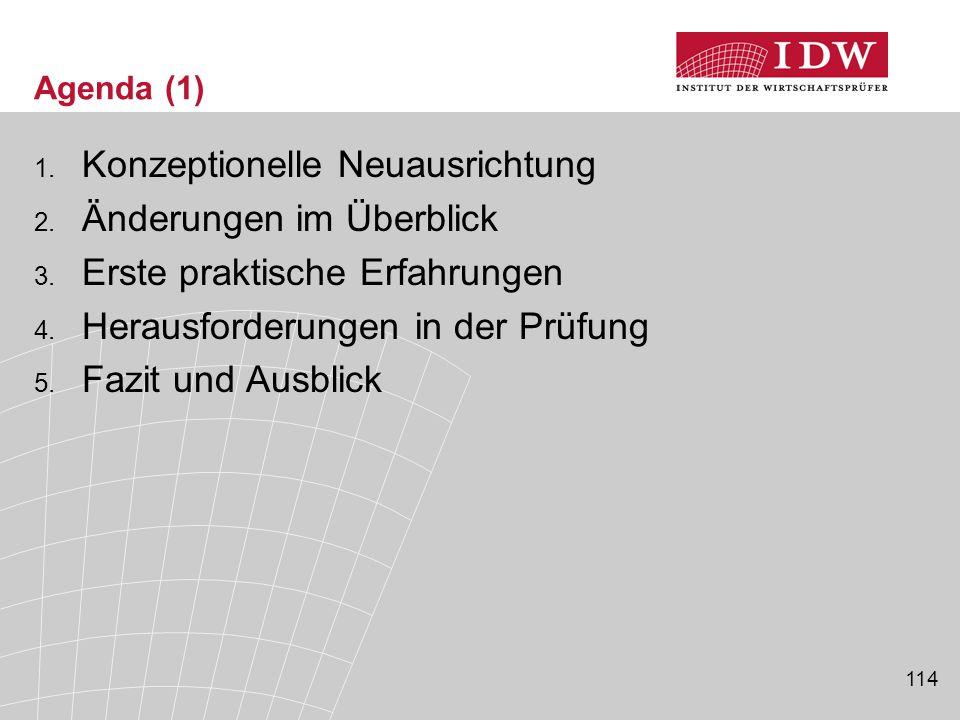 114 Agenda (1) 1. Konzeptionelle Neuausrichtung 2. Änderungen im Überblick 3. Erste praktische Erfahrungen 4. Herausforderungen in der Prüfung 5. Fazi