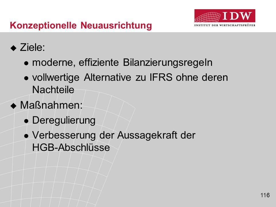 116 Konzeptionelle Neuausrichtung  Ziele: moderne, effiziente Bilanzierungsregeln vollwertige Alternative zu IFRS ohne deren Nachteile  Maßnahmen: D