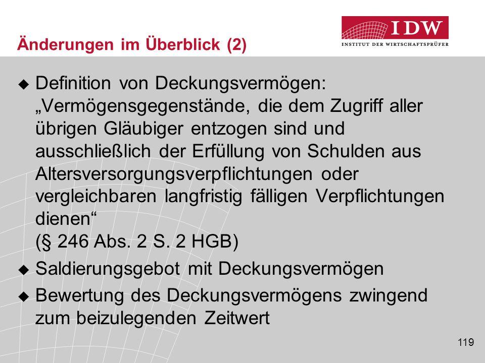 """119 Änderungen im Überblick (2)  Definition von Deckungsvermögen: """"Vermögensgegenstände, die dem Zugriff aller übrigen Gläubiger entzogen sind und au"""