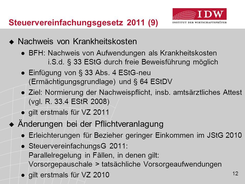 12 Steuervereinfachungsgesetz 2011 (9)  Nachweis von Krankheitskosten BFH: Nachweis von Aufwendungen als Krankheitskosten i.S.d. § 33 EStG durch frei