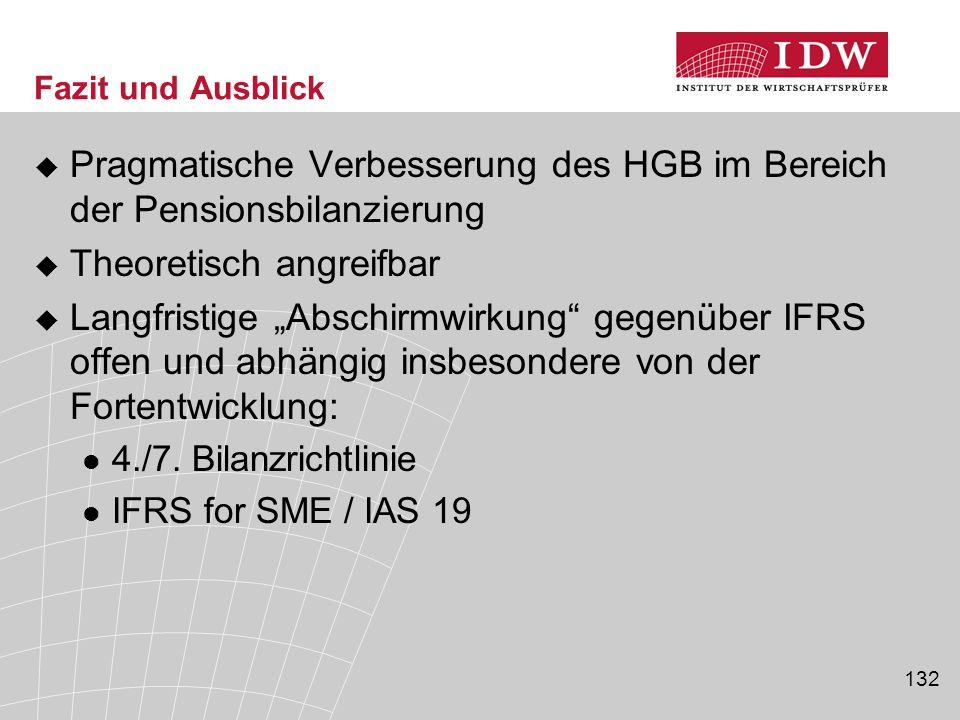 """132 Fazit und Ausblick  Pragmatische Verbesserung des HGB im Bereich der Pensionsbilanzierung  Theoretisch angreifbar  Langfristige """"Abschirmwirkun"""