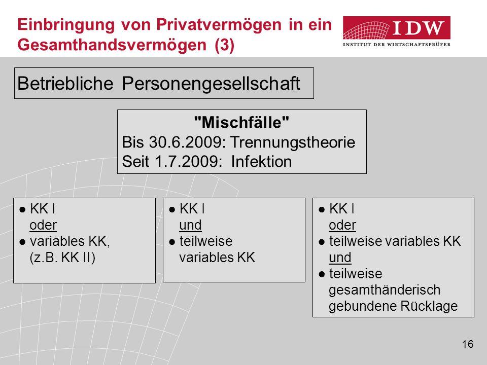 17 Einbringung von Privatvermögen in ein Gesamthandsvermögen – Beispiel 1 A und B sind Gesellschafter der betrieblich tätigen AB-OHG.