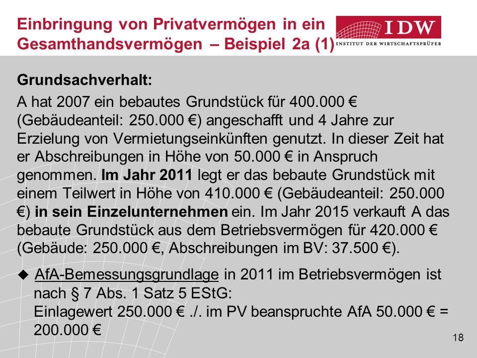 18 Grundsachverhalt: A hat 2007 ein bebautes Grundstück für 400.000 € (Gebäudeanteil: 250.000 €) angeschafft und 4 Jahre zur Erzielung von Vermietungs