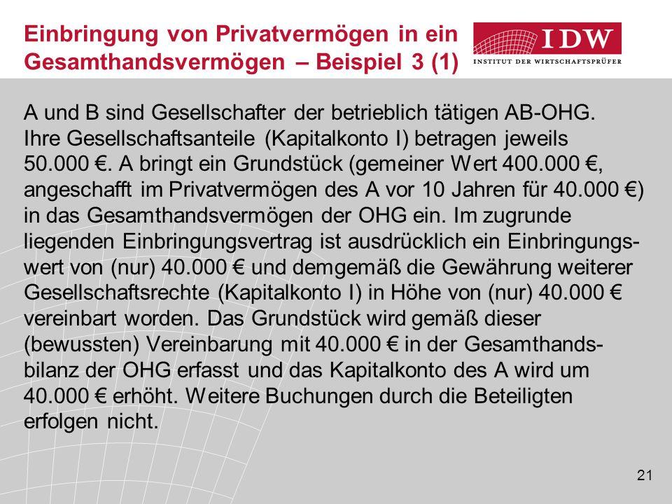 21 A und B sind Gesellschafter der betrieblich tätigen AB-OHG. Ihre Gesellschaftsanteile (Kapitalkonto I) betragen jeweils 50.000 €. A bringt ein Grun