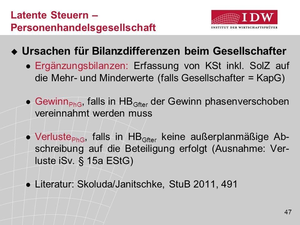 47 Latente Steuern – Personenhandelsgesellschaft  Ursachen für Bilanzdifferenzen beim Gesellschafter Ergänzungsbilanzen: Erfassung von KSt inkl. SolZ