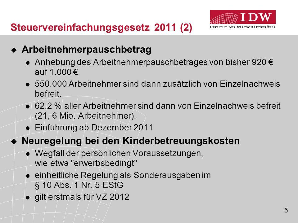 5 Steuervereinfachungsgesetz 2011 (2)  Arbeitnehmerpauschbetrag Anhebung des Arbeitnehmerpauschbetrages von bisher 920 € auf 1.000 € 550.000 Arbeitne
