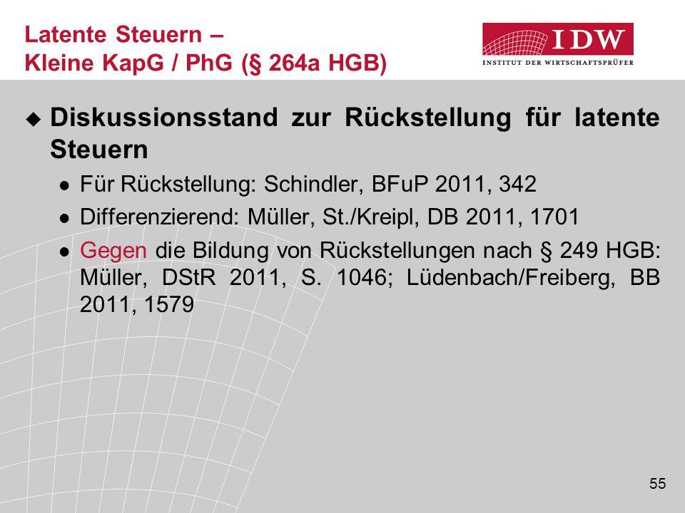 55 Latente Steuern – Kleine KapG / PhG (§ 264a HGB)  Diskussionsstand zur Rückstellung für latente Steuern Für Rückstellung: Schindler, BFuP 2011, 34