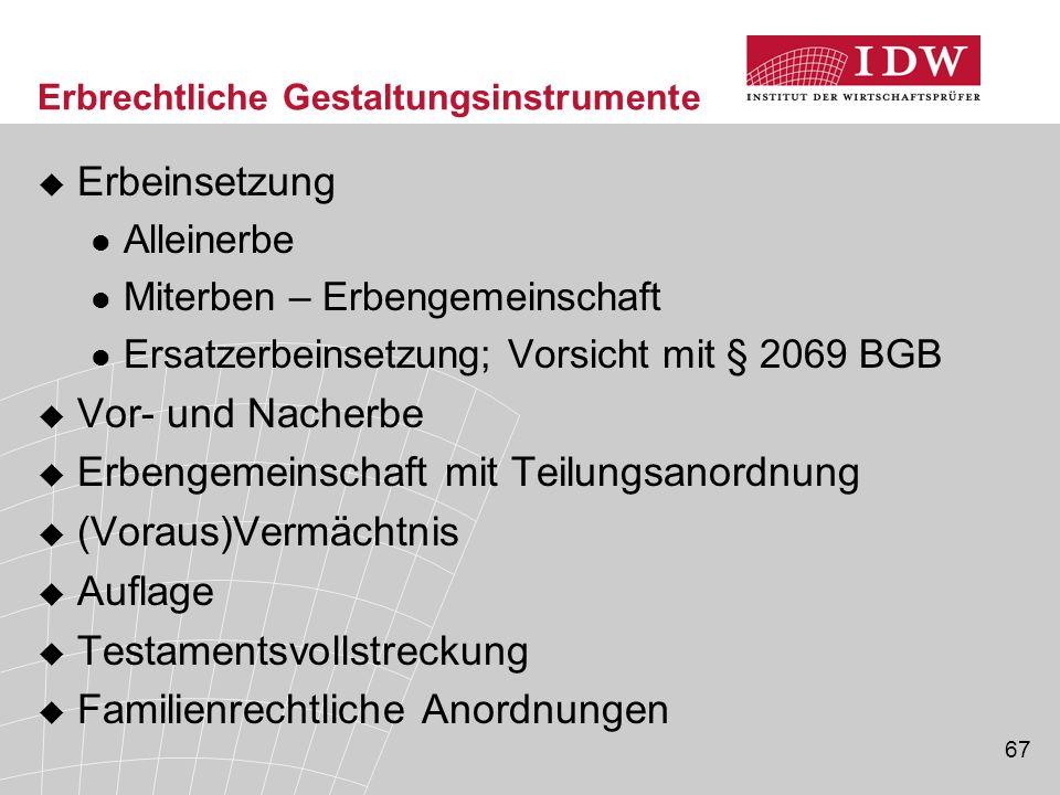 67 Erbrechtliche Gestaltungsinstrumente  Erbeinsetzung Alleinerbe Miterben – Erbengemeinschaft Ersatzerbeinsetzung; Vorsicht mit § 2069 BGB  Vor- un