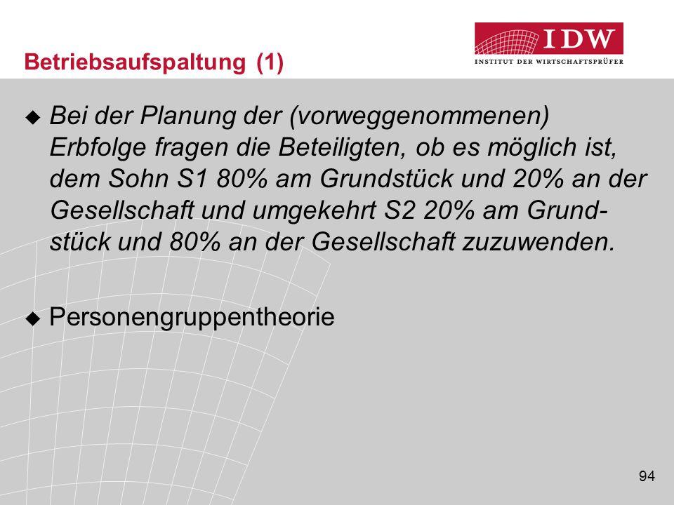 94 Betriebsaufspaltung (1)  Bei der Planung der (vorweggenommenen) Erbfolge fragen die Beteiligten, ob es möglich ist, dem Sohn S1 80% am Grundstück