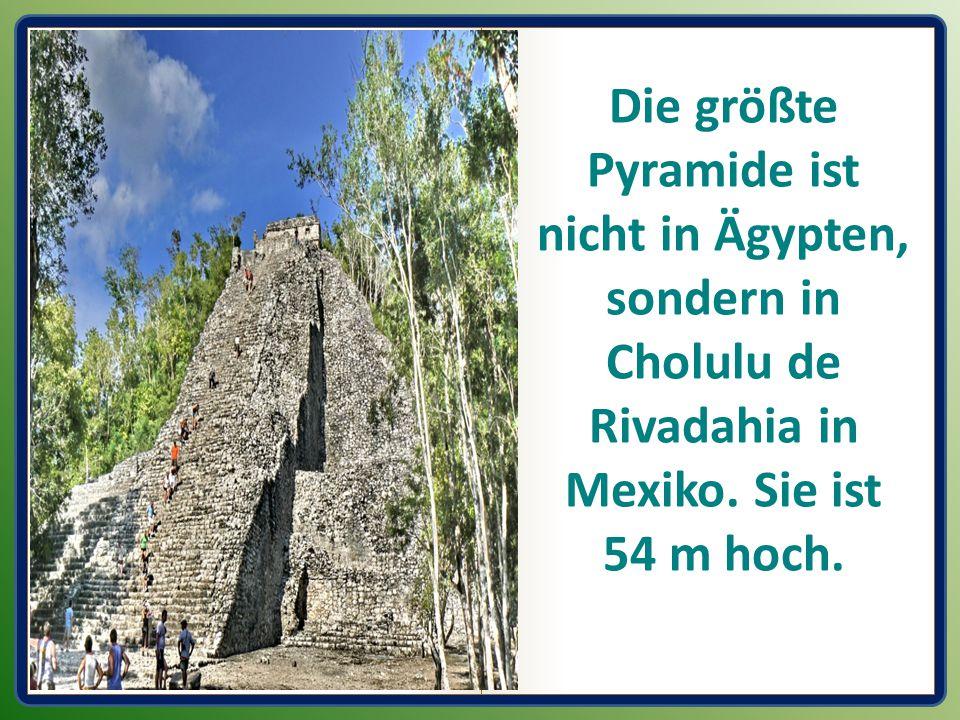 Die größte Pyramide ist nicht in Ägypten, sondern in Cholulu de Rivadahia in Mexiko. Sie ist 54 m hoch.