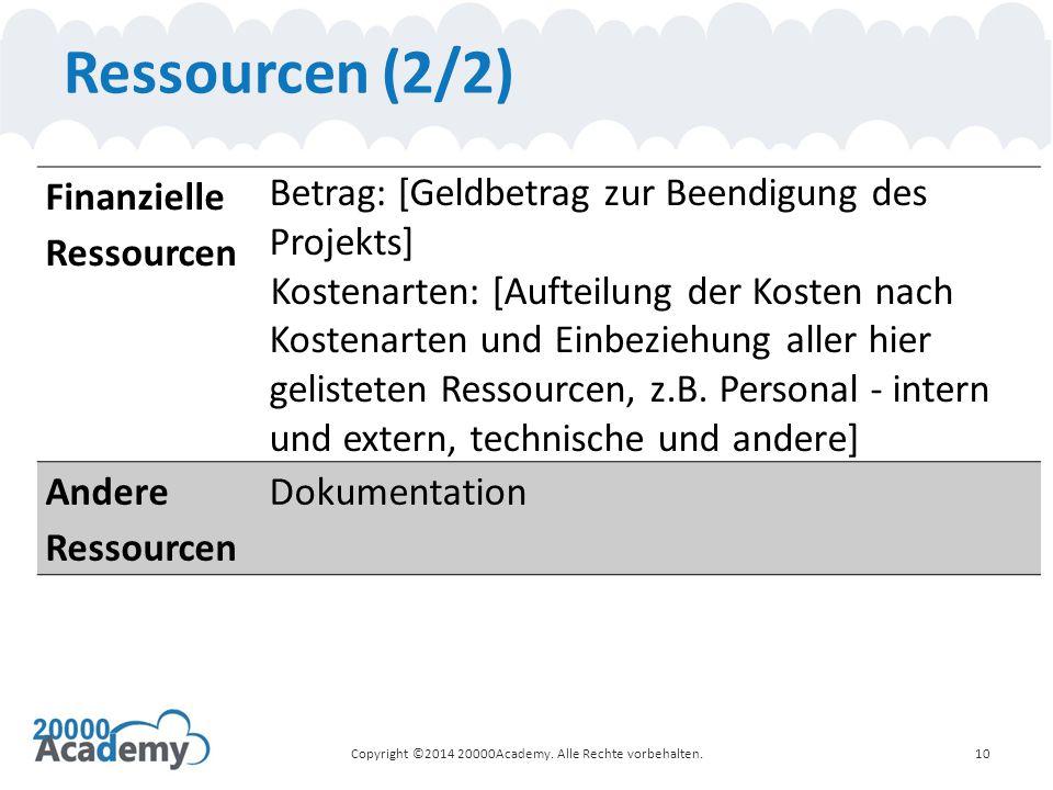 Ressourcen (2/2) 10 Finanzielle Ressourcen Betrag: [Geldbetrag zur Beendigung des Projekts] Kostenarten: [Aufteilung der Kosten nach Kostenarten und Einbeziehung aller hier gelisteten Ressourcen, z.B.