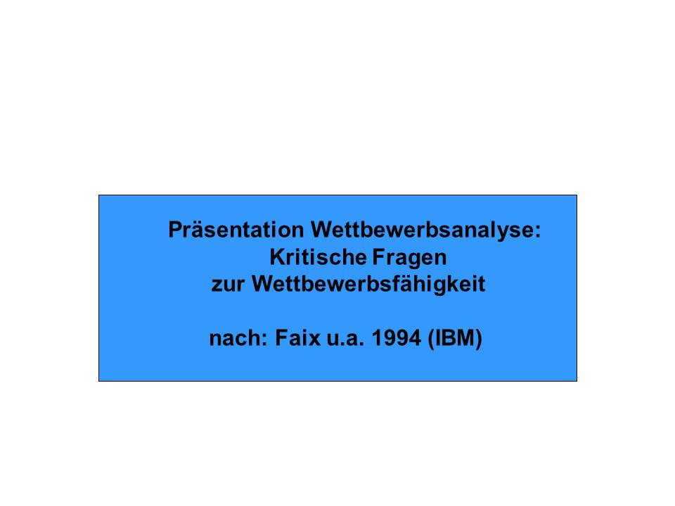 Präsentation Wettbewerbsanalyse: Kritische Fragen zur Wettbewerbsfähigkeit nach: Faix u.a.