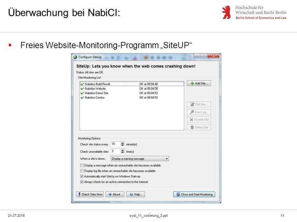 """Überwachung bei NabiCI:  Freies Website-Monitoring-Programm """"SiteUP 21.07.2015syst_11_codierung_3.ppt11"""