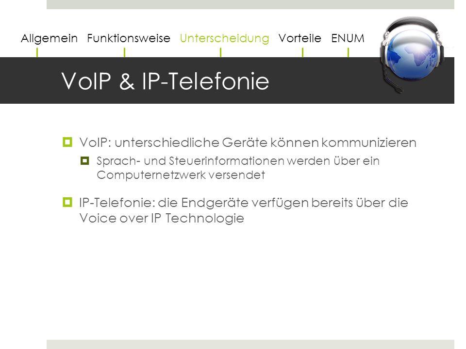 VoIP & IP-Telefonie  VoIP: unterschiedliche Geräte können kommunizieren  Sprach- und Steuerinformationen werden über ein Computernetzwerk versendet