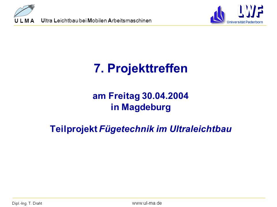 Dipl.-Ing. T. Draht www.ul-ma.de U L M A Ultra Leichtbau bei Mobilen Arbeitsmaschinen Universität Paderborn 7. Projekttreffen am Freitag 30.04.2004 in