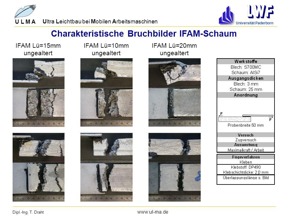 Dipl.-Ing. T. Draht www.ul-ma.de U L M A Ultra Leichtbau bei Mobilen Arbeitsmaschinen Universität Paderborn Charakteristische Bruchbilder IFAM-Schaum