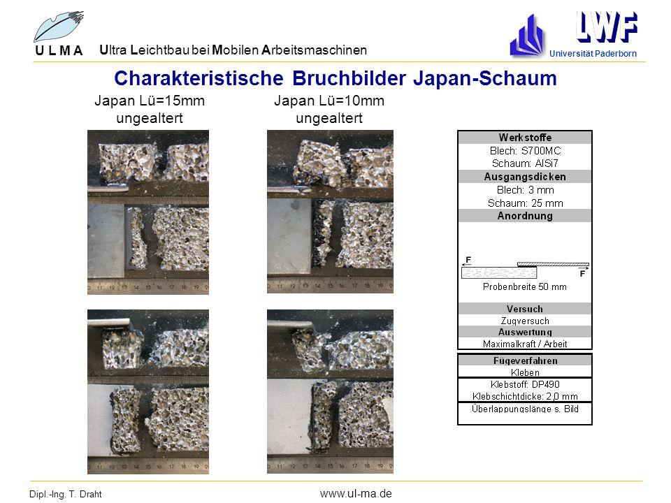 Dipl.-Ing. T. Draht www.ul-ma.de U L M A Ultra Leichtbau bei Mobilen Arbeitsmaschinen Universität Paderborn Charakteristische Bruchbilder Japan-Schaum